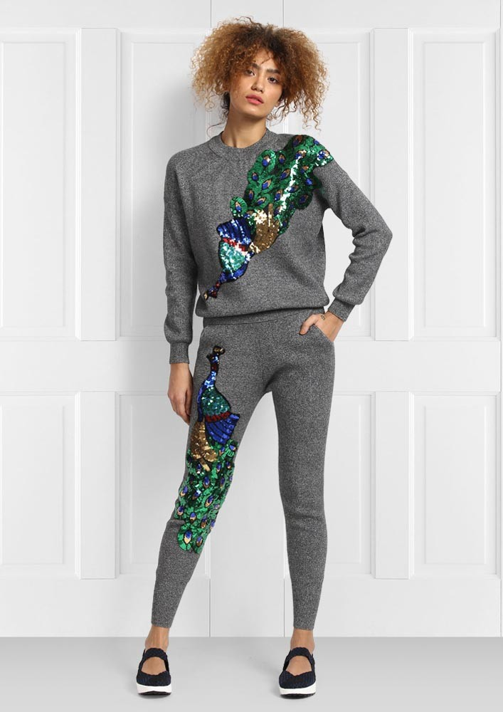 JOGGER WITH PEACOCK SEQUIN