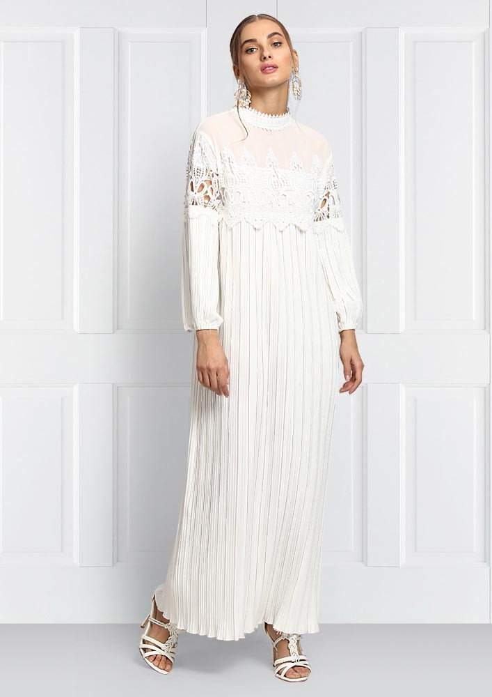 White long pleated crochet dress