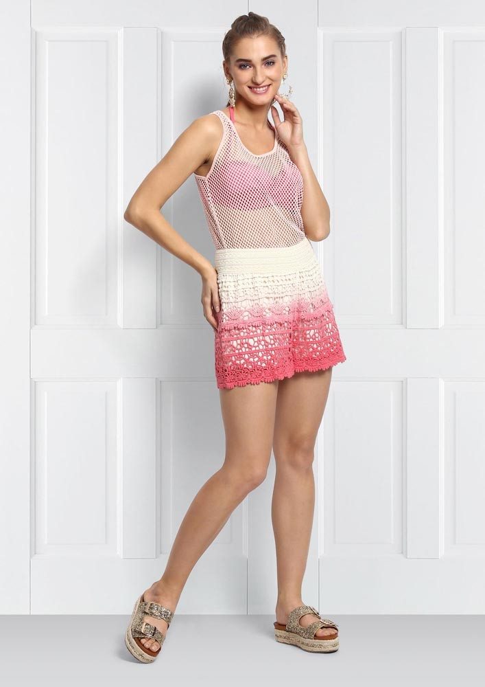 Pink Ombre Crochet Shorts