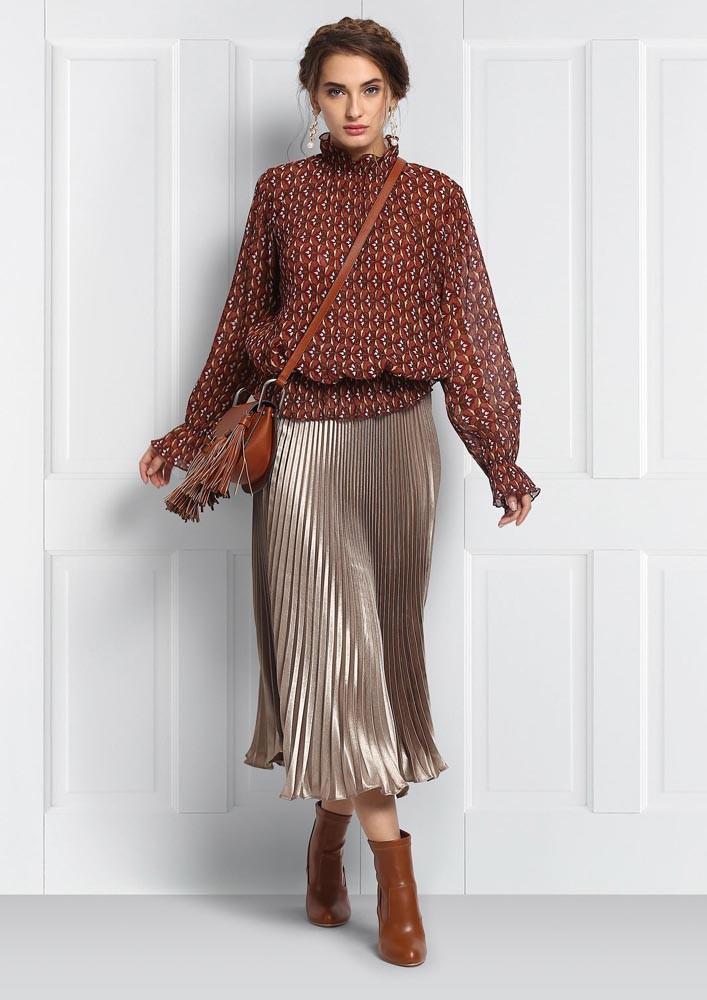 Earthy Gold Metallic Skirt