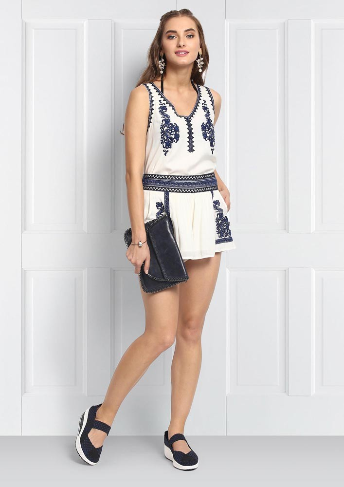 White AND NAVY BLUE  Boho Top