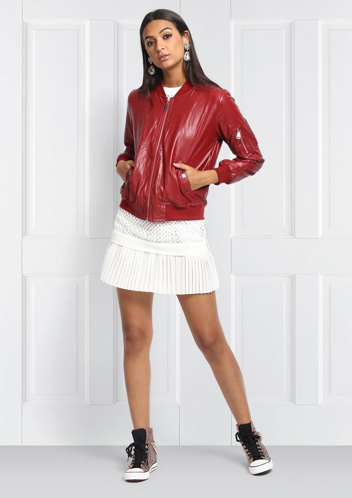 Fall essential red bomber jacket