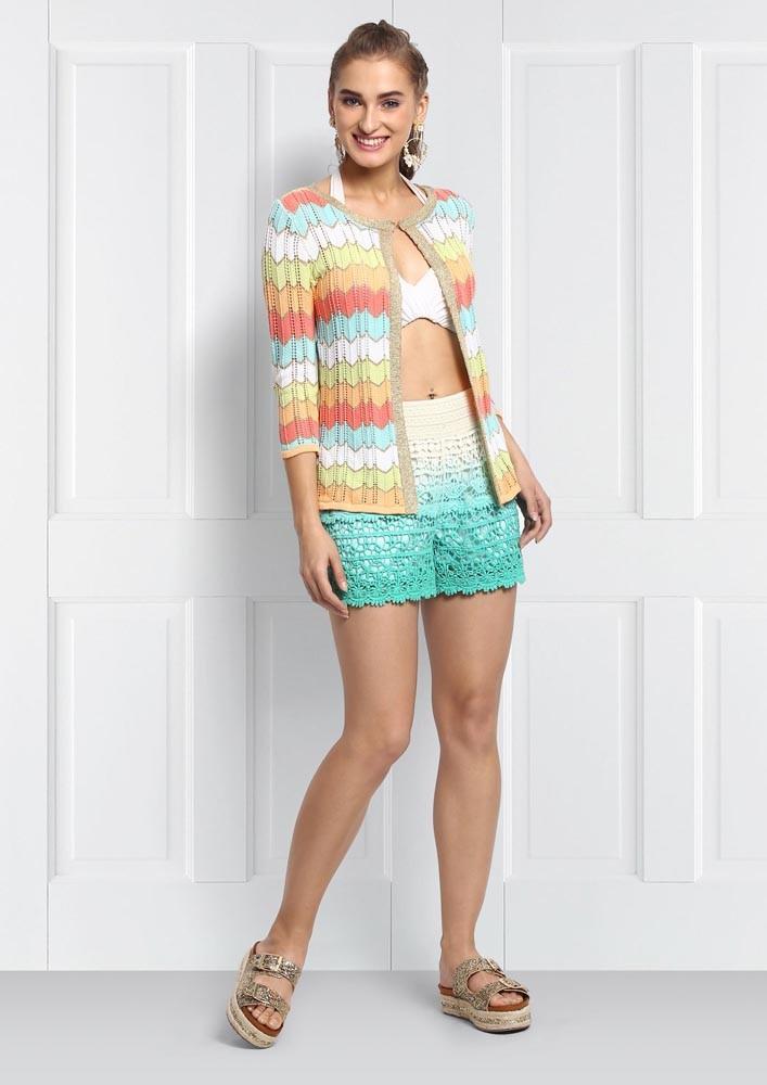 Green Ombre Crochet Shorts