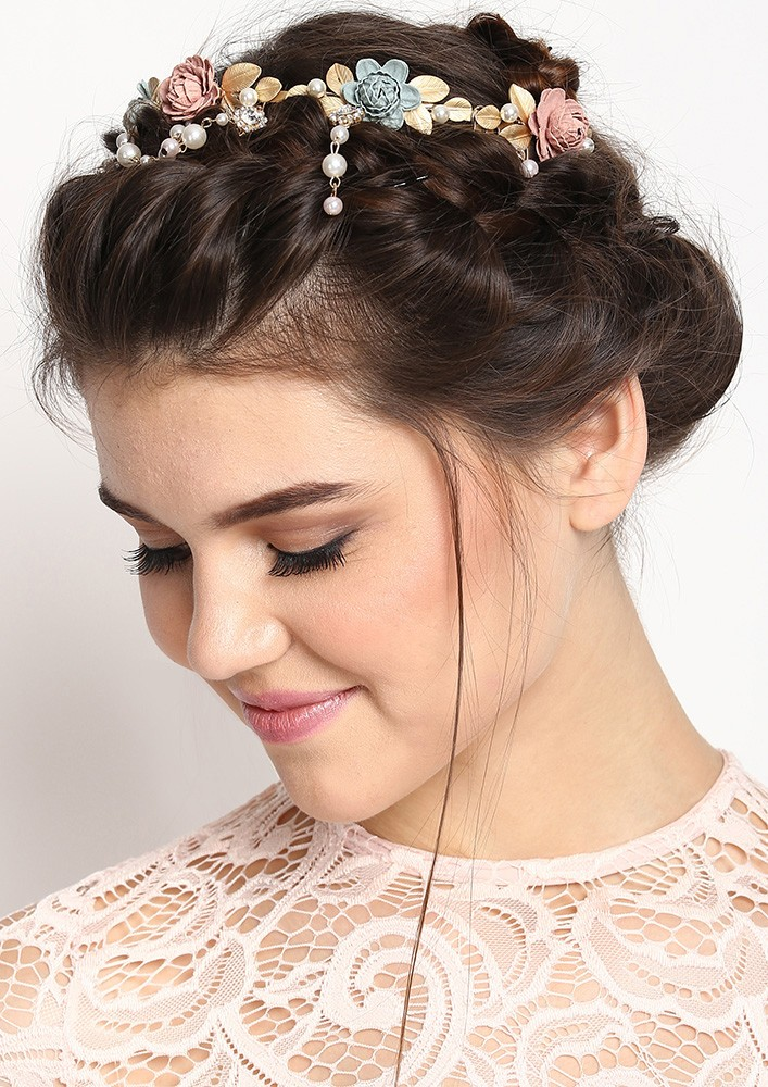 White and Light Pink Rose Hairband