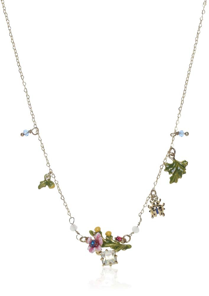 Metallic Flowers Embellished Necklace
