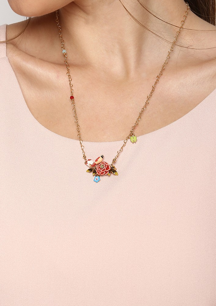 Flower and Bird Necklace