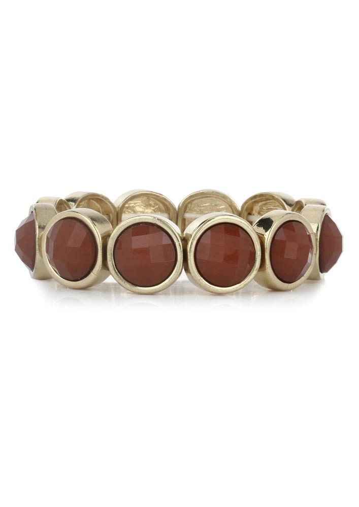 Gold Tone Blood Red Stone Bracelet