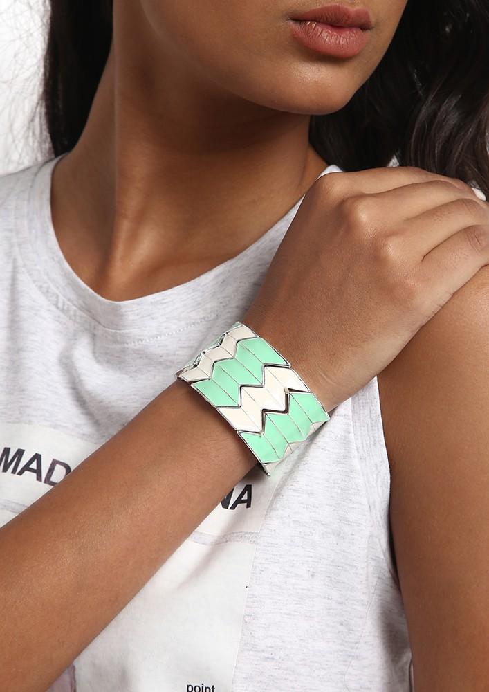 Mint Green & White Cuff Bracelet