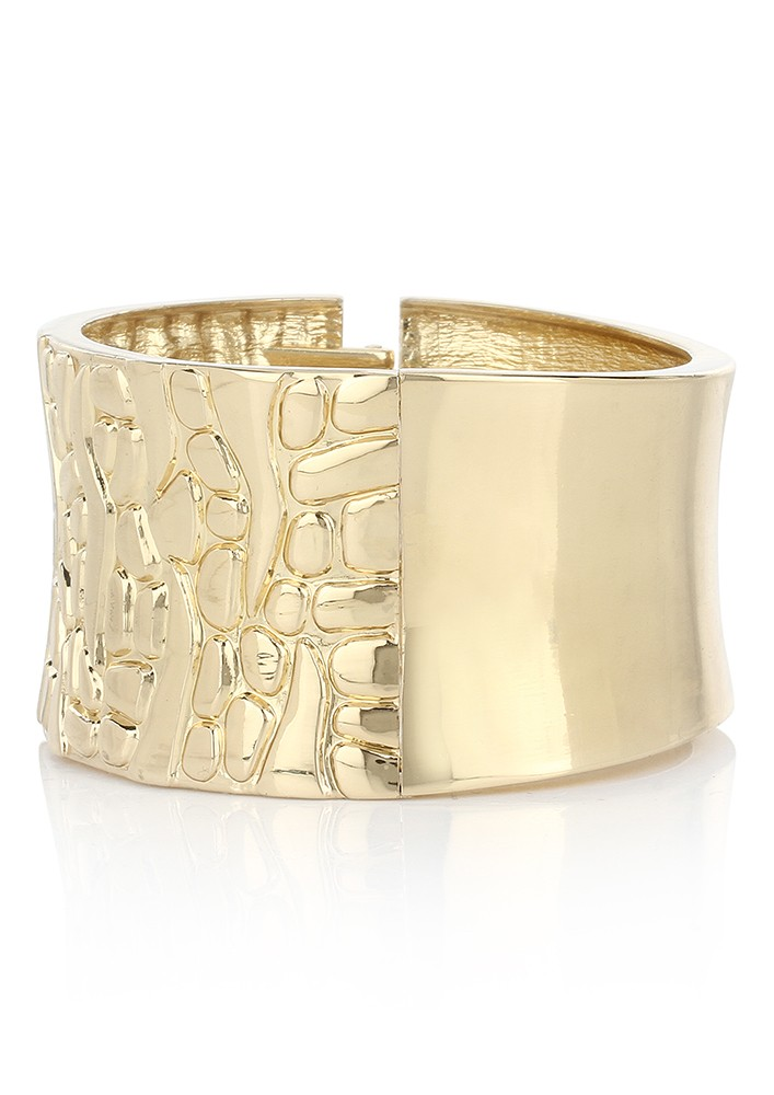 Gold Toned Textured Cuff Bracelet
