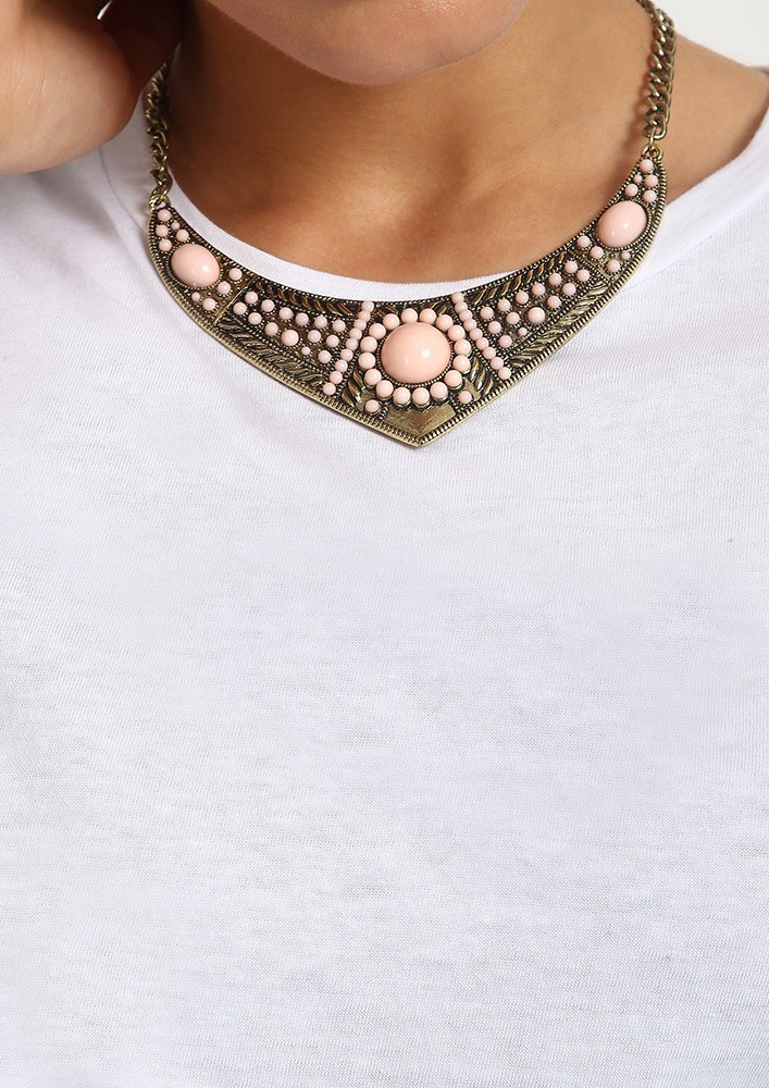 Pink Stone and Brass Collar necklace