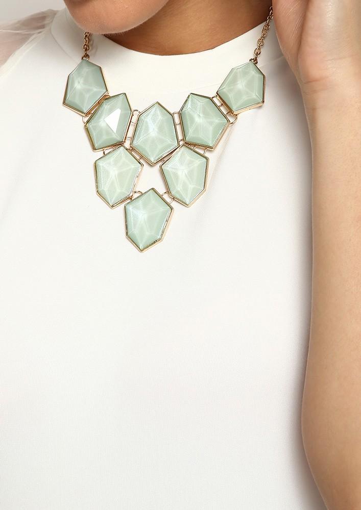 Sea Green Stone Collar Necklace
