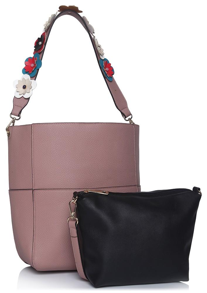 Flower Embellished Light Pink Shoulder Bag