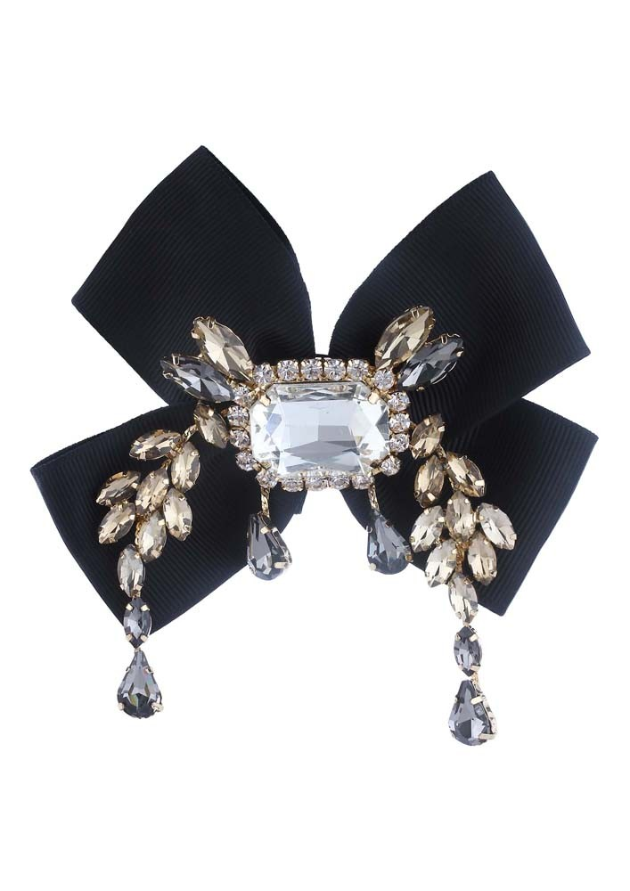 Black Bow Crystal Brooch
