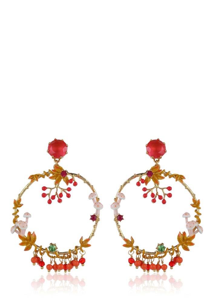 Red Stone a Gold Hoop Drop Earrings