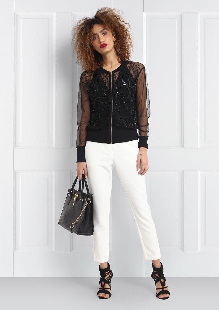 All about embellishment black bomber jacket