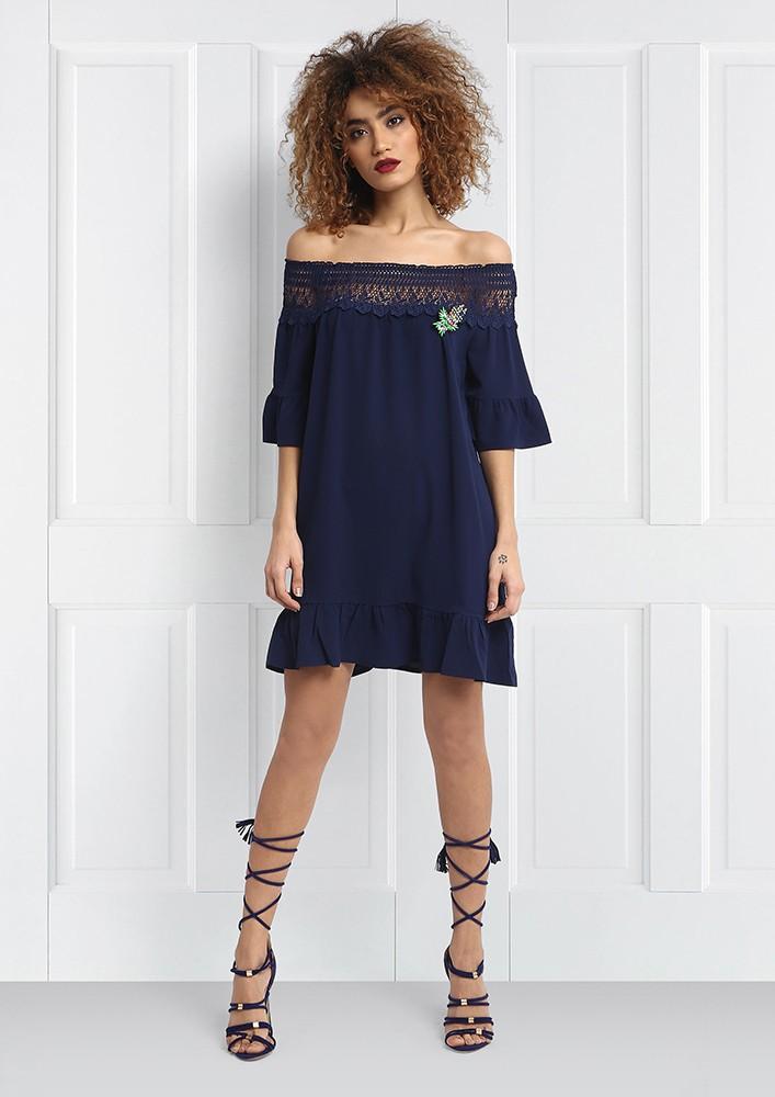 Navy off shoulder mini dress