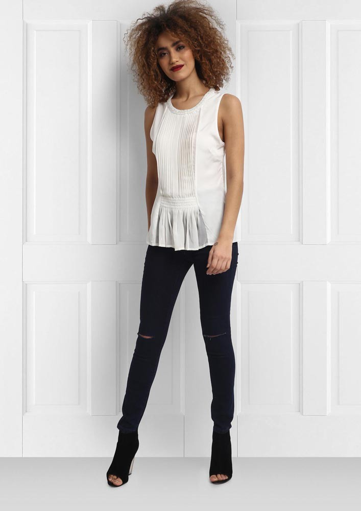 Flattering White Peplum Top