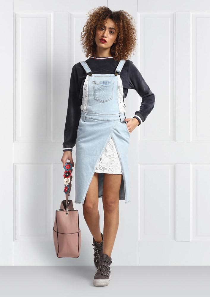 DENIM DUNGAREE WITH LACE EMBROIDERY