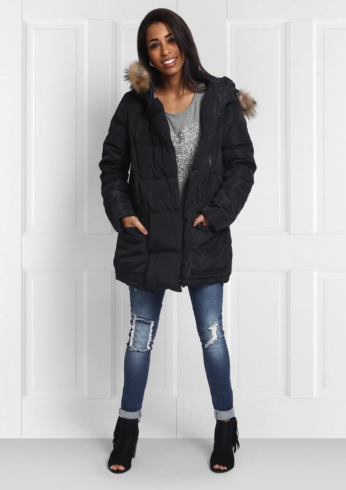 Under faux fur hood jacket