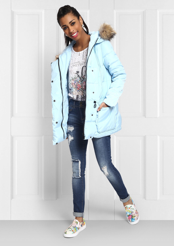 Under faux fur hoods jacket