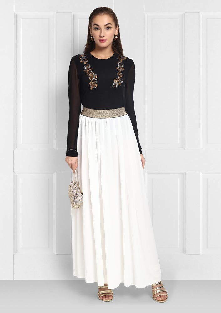 White Maxi Skirt with Gold Waist Band