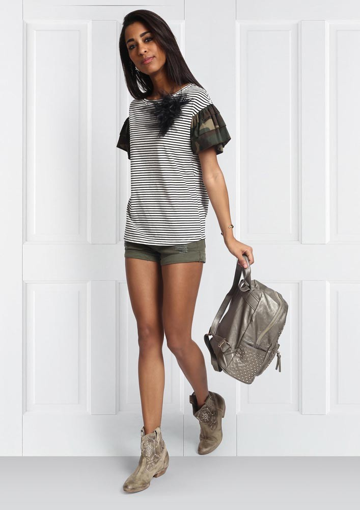 CAMOUFLAGE & STRIPE TOP