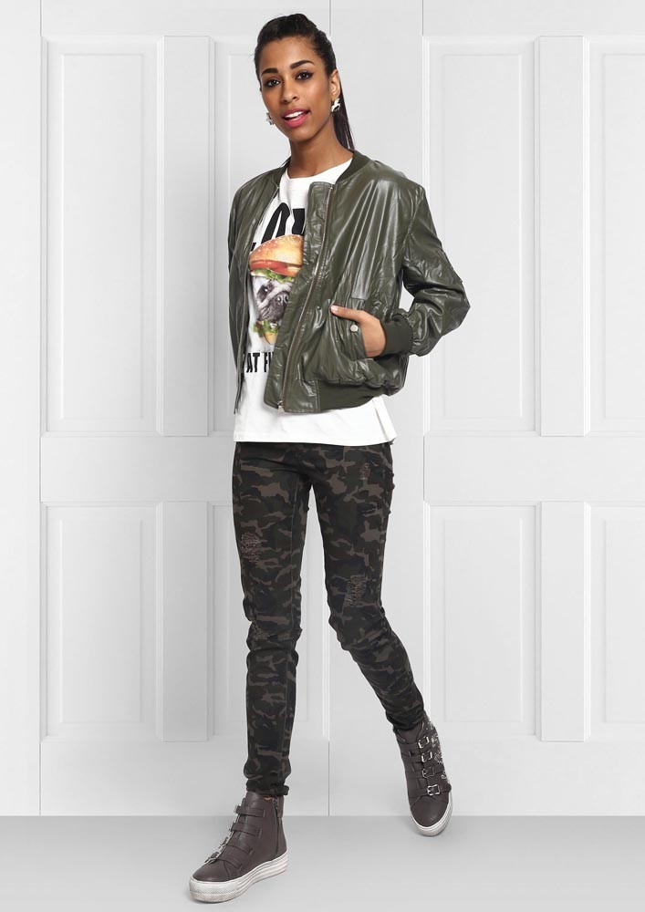 Fall essential olive bomber jacket