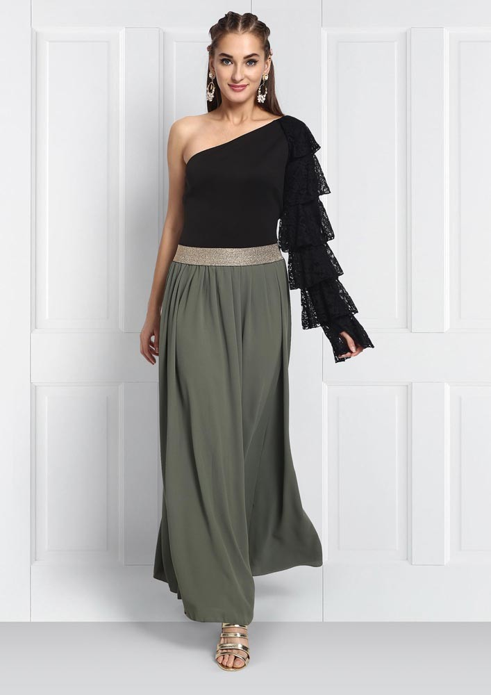 Olive Maxi Skirt With Gold Waist Band
