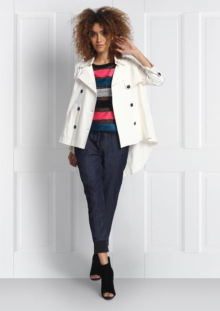 Short High-Low Trench Coat