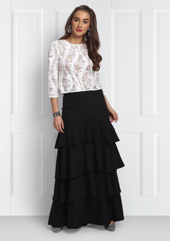 tiered ruffled skirt