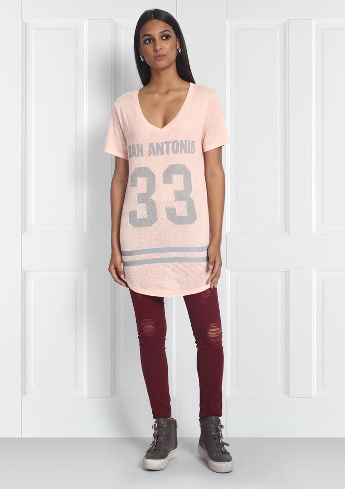 BLUSH PINK OVERSIZED VARSITY T-SHIRT