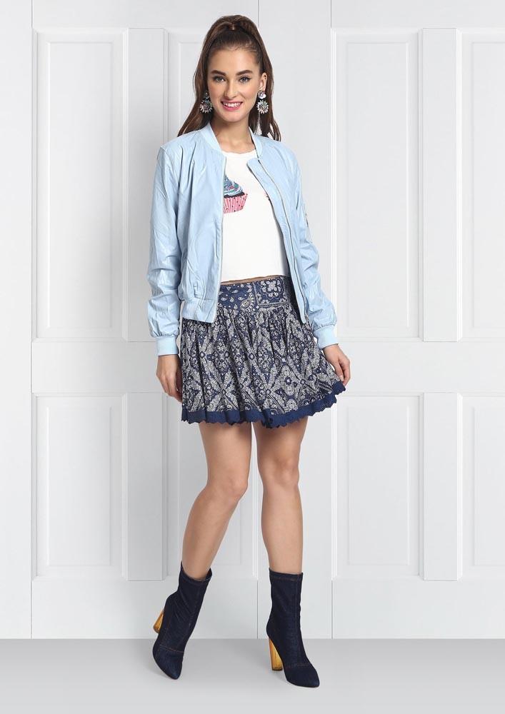 Fall essential blue bomer jacket