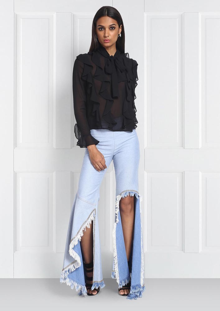 ROSE ROOM PRET - DENIM FLARED AND EMBROIDERED PANTS