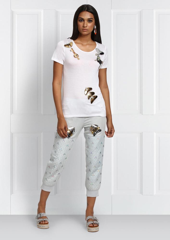 ROSE ROOM PRET - METALLIC PATCHED DRAWSTRING JOGGERS