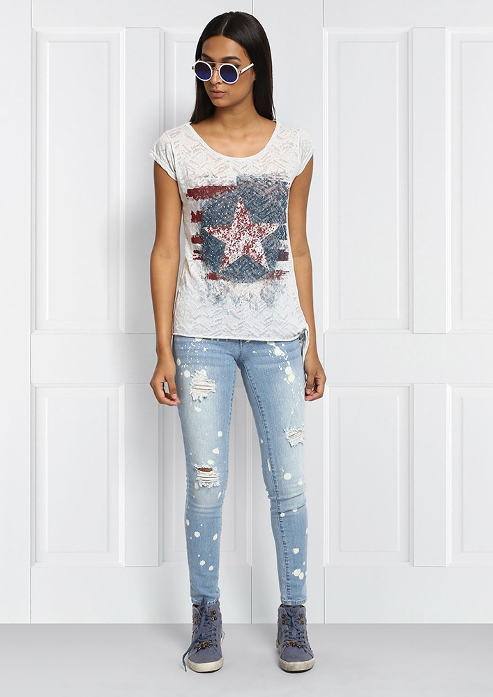 Distressed Denim with snazy paint splotches