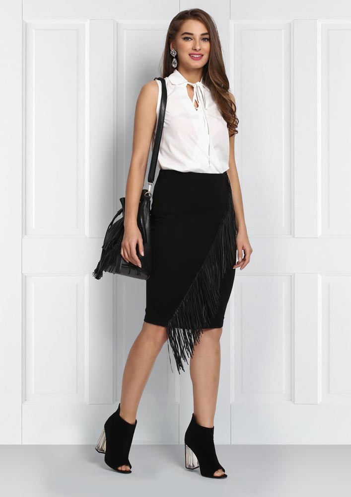 LOOPED COLLAR CROSS OVER WHITE BLOUSE