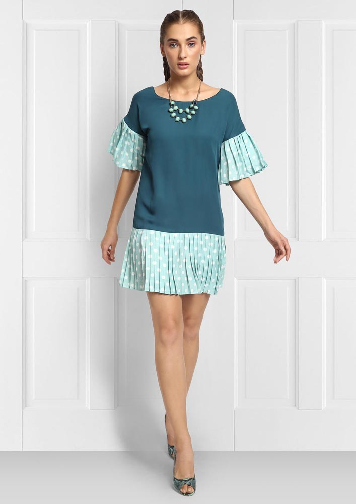 PLEATED HALF SLEEVE DRESS