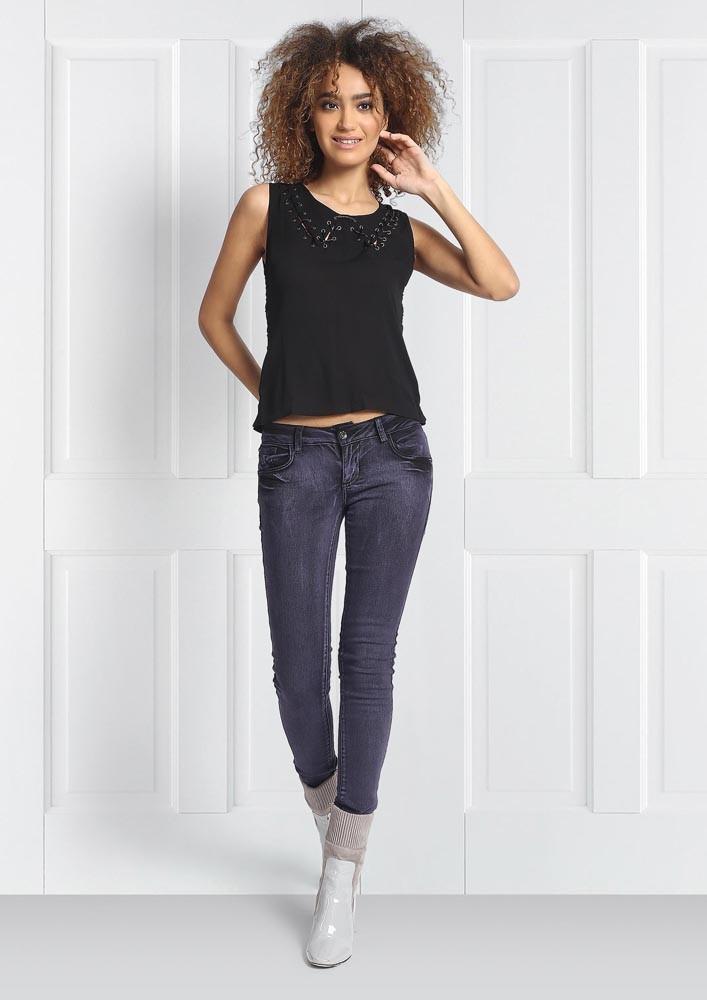 Embellished Black Sleeveless Top