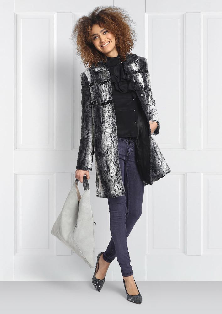 Grey and White Faux Fur Coat