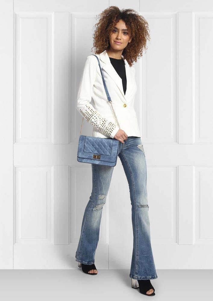 White Blazer with Embellished Sleeves