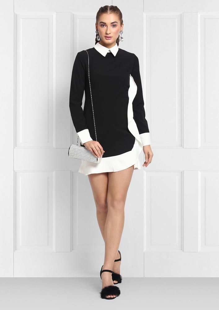 TAILORED DRESS WITH RUFFLE DETAIL ON SIDE