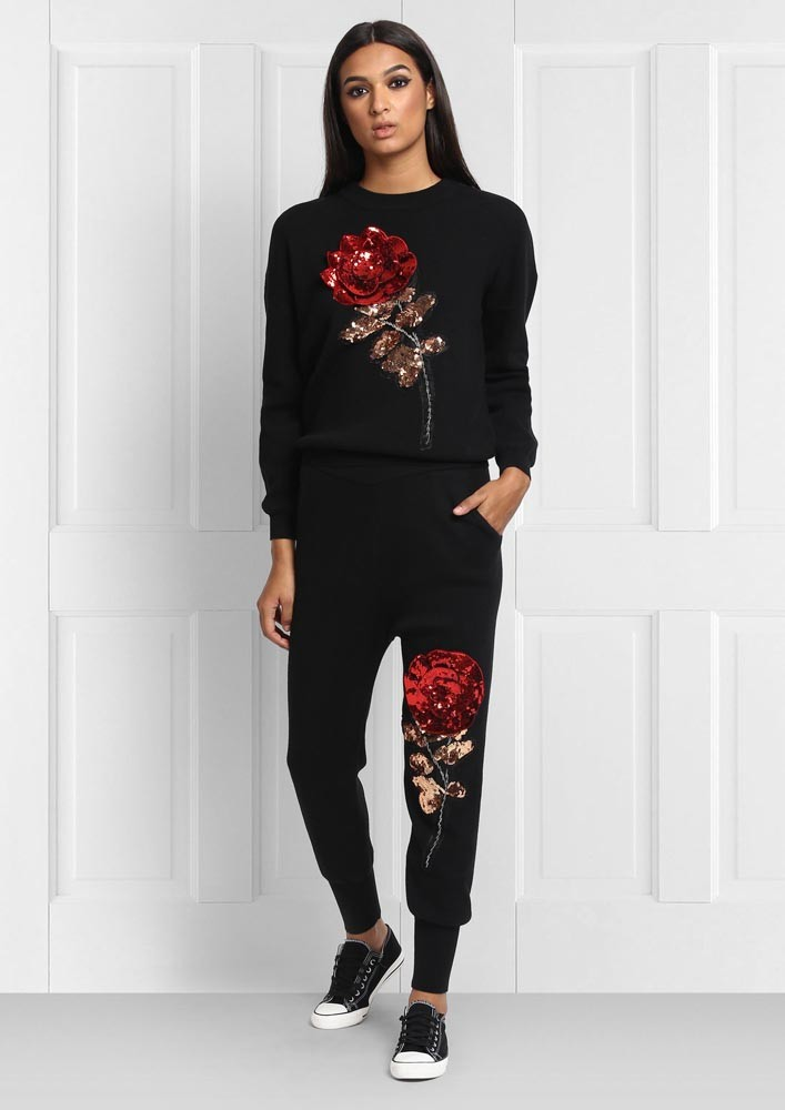 Rose Bud Sequin Joggers