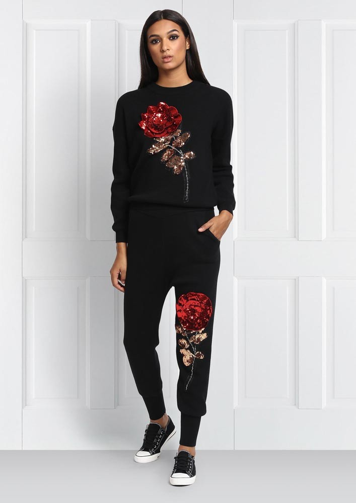 ROSE BUD SEQUIN SWEATER