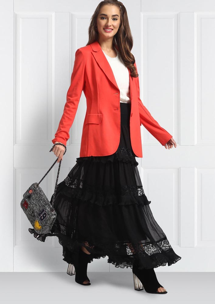 Red Pocketed Blazer