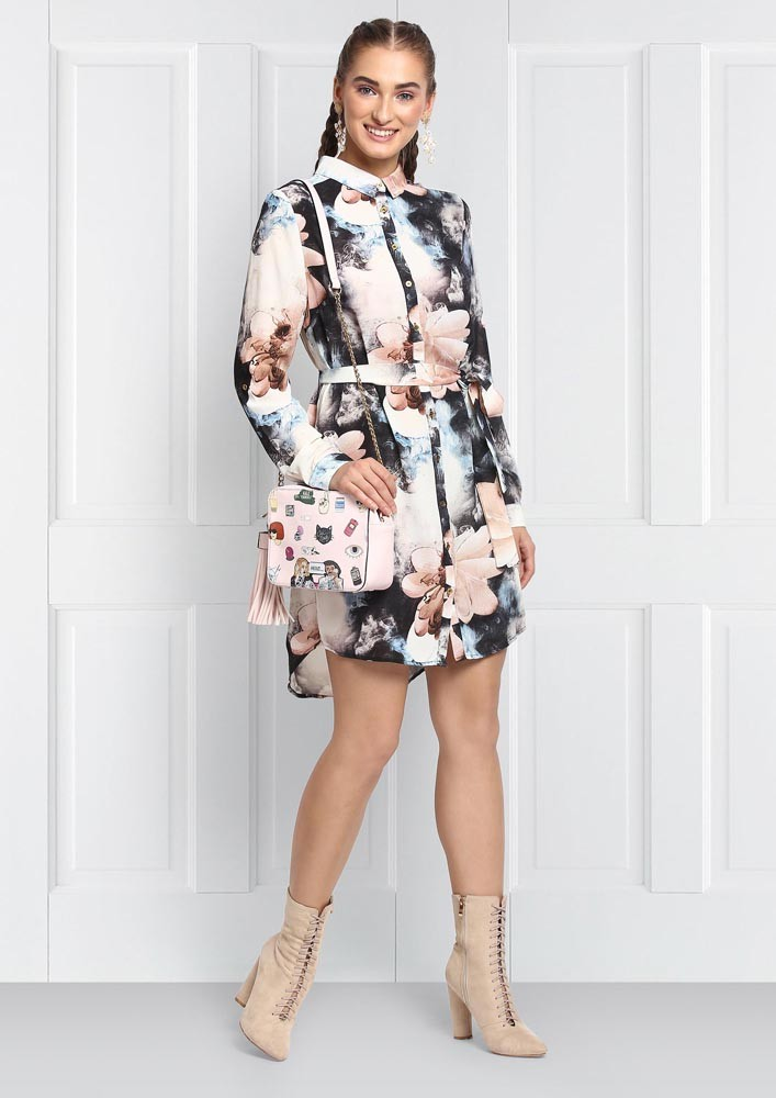 PASTEL HUES FLORAL DRESS WITH TIE