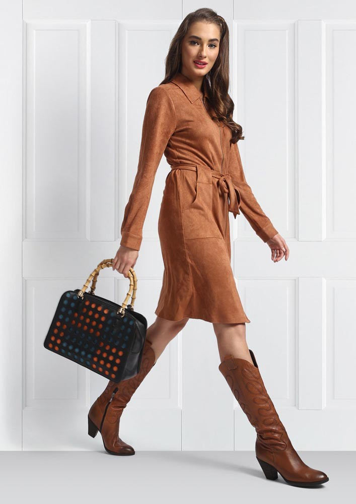 Brown shirt dress