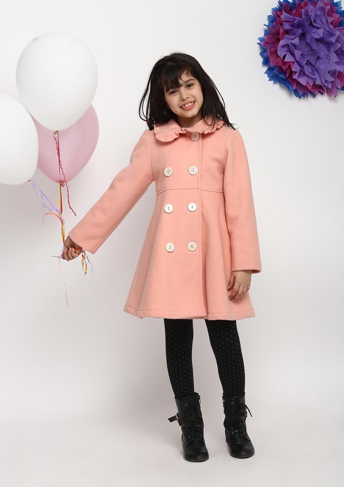 PINK WINTER COAT WITH FAUX FUR