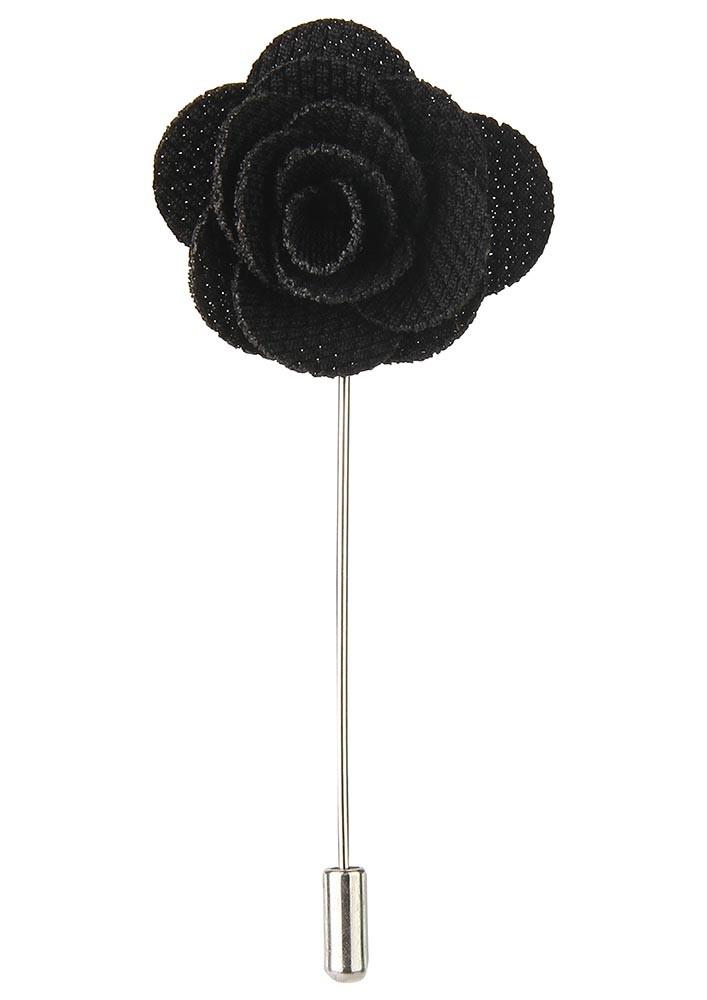 BLACK FLORAL LAPEL PIN