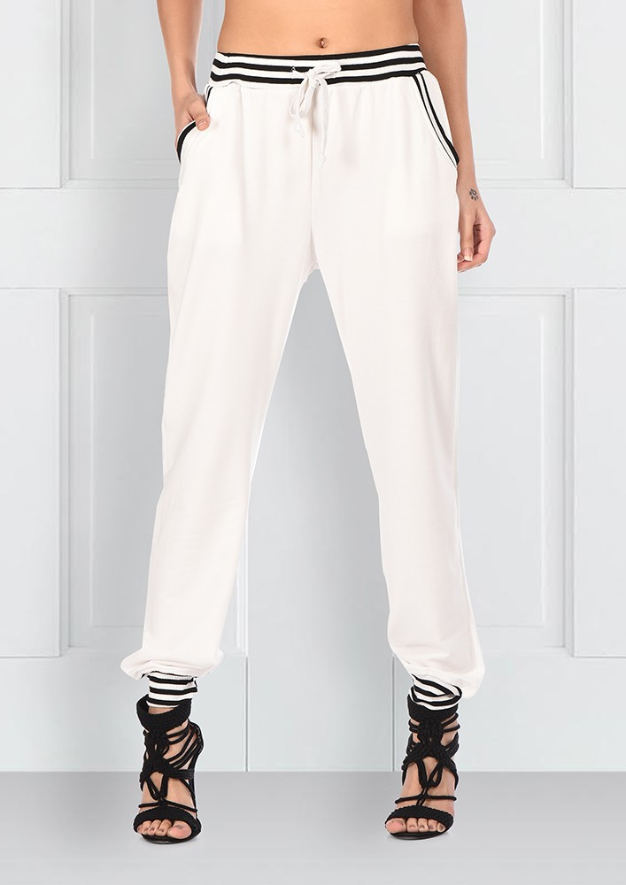 White Joggers With Striped Detailing