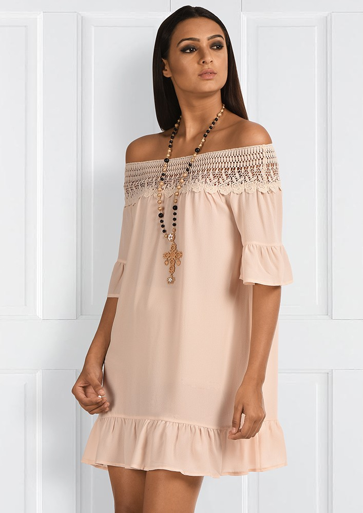 OFF SHOULDER DETAILED DRESS
